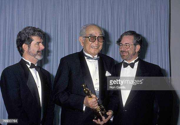 Akira Kurosawa honorary Academy Award winner with presenters George Lucas and Steven Spielberg