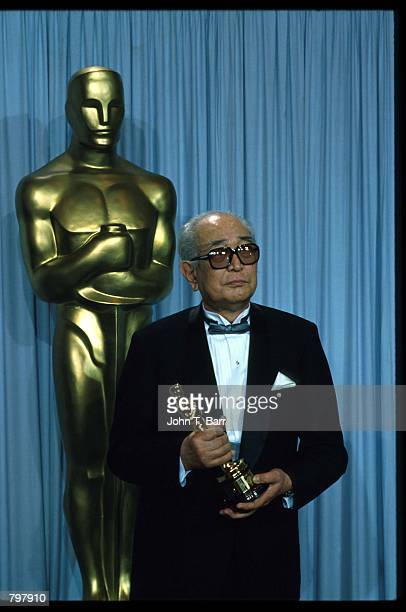 Akira Kurosawa stands backstage during the 62nd Academy Awards ceremony March 26 1990 in Los Angeles CA Kurosawa was awarded an Honorary Oscar for...