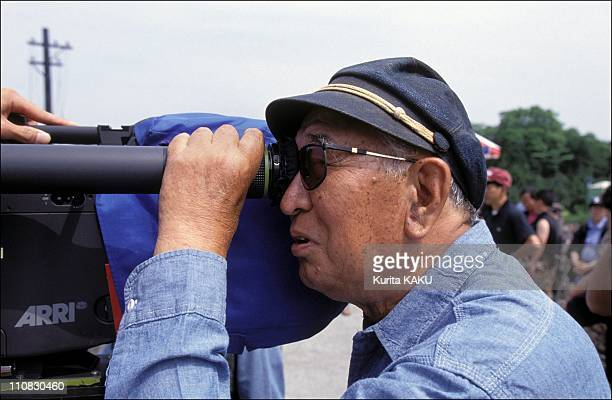 Akira Kurozawa On Filming Of 'Madamayo' In Japan On June 15 1992 Directing with his cap from 'Derzu Uzala'