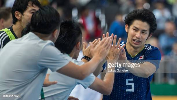 Akira Minamoto of Japan celebrates his team's first goal during the futsal international friendly match between Germany and Japan at the Castello...