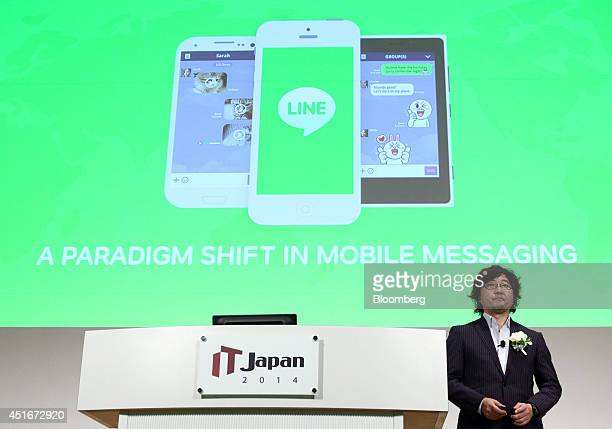 Akira Morikawa chief executive officer of Line Corp makes a speech at the IT Japan 2014 hosted by Nikkei Business Publications Inc in Tokyo Japan on...