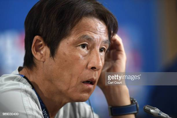 Akira Nishino Manager of Japan attends the Japan press conference ahead of the 2018 FIFA World Cup Round of 16 match against Belgium at Rostov Arena...