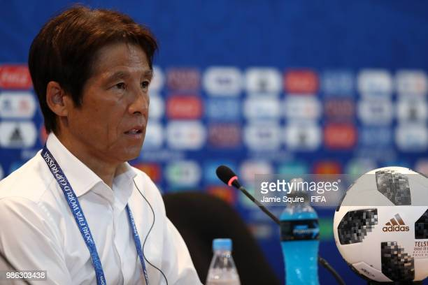Akira Nishino Manager of Japan attends the post match press confernce following the 2018 FIFA World Cup Russia group H match between Japan and Poland...