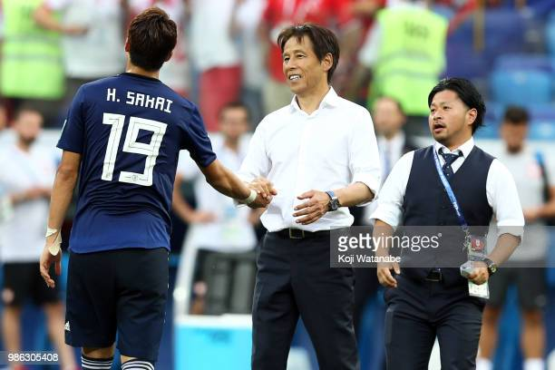 Akira Nishino Manager of Japan celebrates during the 2018 FIFA World Cup Russia group H match between Japan and Poland at Volgograd Arena on June 28...