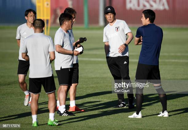 Akira Nishino Manager of Japan looks on during a Japan training session on June 29 2018 in Kazan Russia