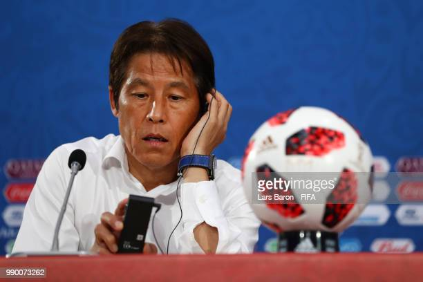 Akira Nishino Manager of Japan speaks during a press conference after the 2018 FIFA World Cup Russia Round of 16 match between Belgium and Japan at...