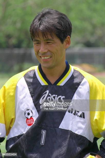 Akira Nishino of Japan smiles during a training session ahead of the Atlanta Olympic Men's Football Asian Qualifier final against South Korea on...