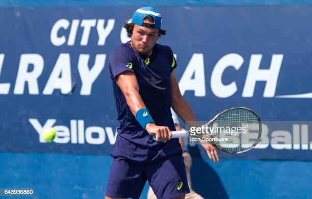 Akira Santillan defeats Benjamin Becker during the Qualifying Round of the ATP Delray Beach Open on February 19 2017 in Delray Beach Florida