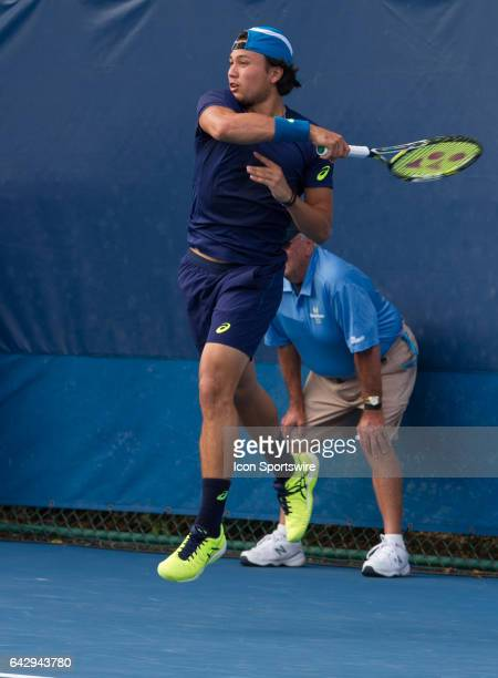 Akira Santillan defeats Tobias Kamke during the Qualifying Round of the ATP Delray Beach Open on February 18 2017 at Delray Beach Stadium Tennis...