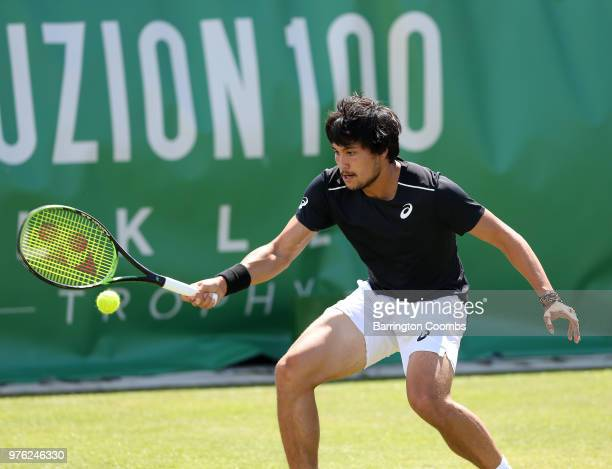 Akira Santillan of Australia in action during Day One of the Fuzion 100 Ikley Trophy at Ilkley Lawn Tennis Squash Club on June 16 2018 in Ilkley...