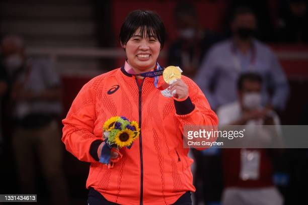 Akira Sone of Team Japan poses with the gold medal for the Women's Judo +78kg event on day seven of the Tokyo 2020 Olympic Games at Nippon Budokan on...