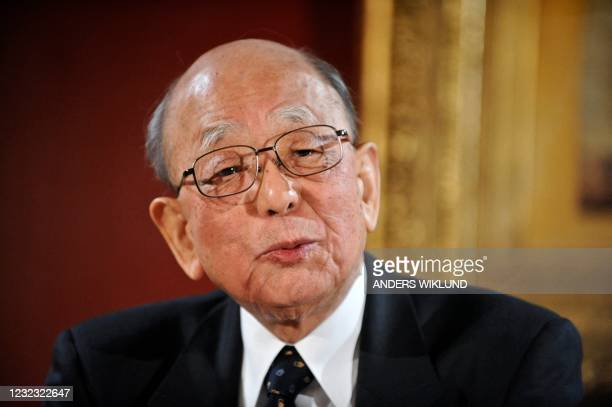 Akira Suzuki of Japan meets the press at the Grand Hotel in Stockholm on December 9, 2010. Three scientists will share the 2010 Nobel Prize for...