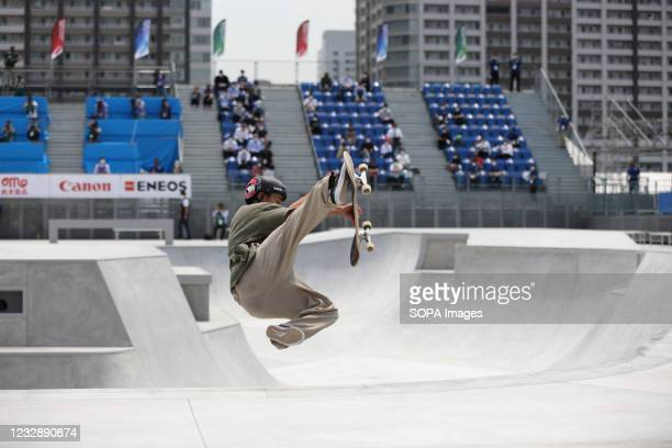 Akira Tanaka performs his routine during the READY STEADY TOKYO Skateboarding Test Event at Ariake Urban Sports Park in course of the preparations...