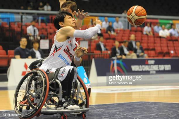 Akira Toyoshima of Japan in action during the Wheelchair Basketball World Challenge Cup match between Japan and Turkey at the Tokyo Metropolitan...