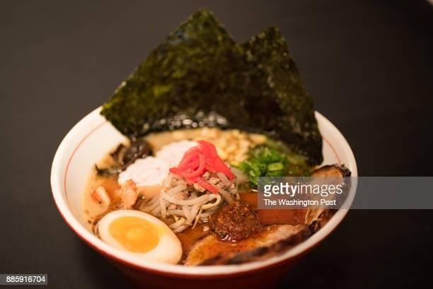 Akira Volcano Ramen Tonkotsu salt flavor with chashu stir fried bean sprout onion with pork egg fish cake corn scallion bamboo shoot wood ear nori...