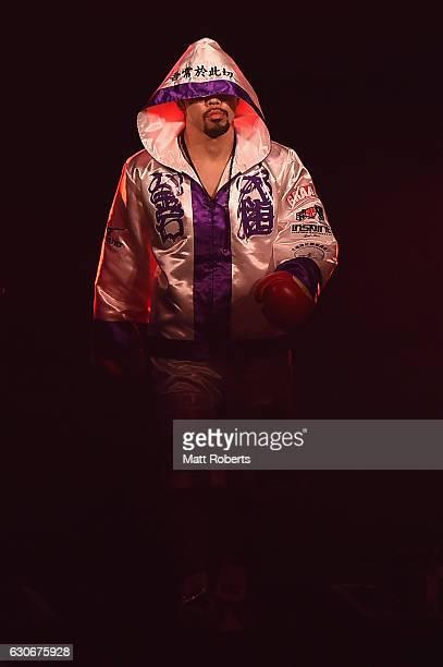 Akira Yaegashi enter the arena before the IBF World Light Flyweight Title bout between Akira Yaegashi of Japan and Wittawas Basapean of Thailand at...