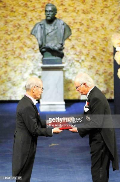 Akira Yoshino laureate of the Nobel Prize in Chemistry receives Nobel Prize from King Carl XVI Gustaf of Sweden during the Nobel Prize Awards...