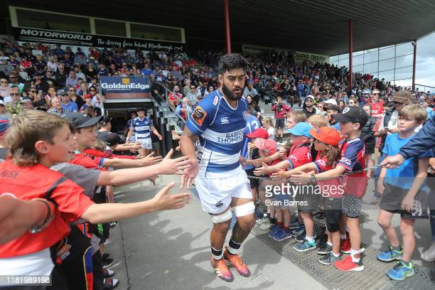 Akiro Ioane at the start of the Mitre 10 Cup Premiership Semi Finals match between Tasman and Auckland at Lansdowne Park on October 19 2019 in...