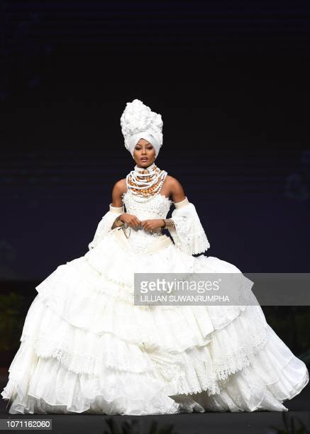 Akisha Albert Miss Curacao 2018 walks on stage during the 2018 Miss Universe national costume presentation in Chonburi province on December 10 2018
