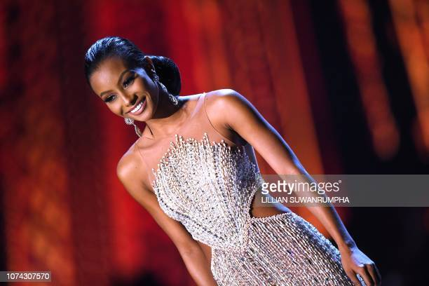Akisha Albert of Curacao competes after being selected as top 10 finalist during the 2018 Miss Universe Pageant in Bangkok on December 17 2018 Miss...