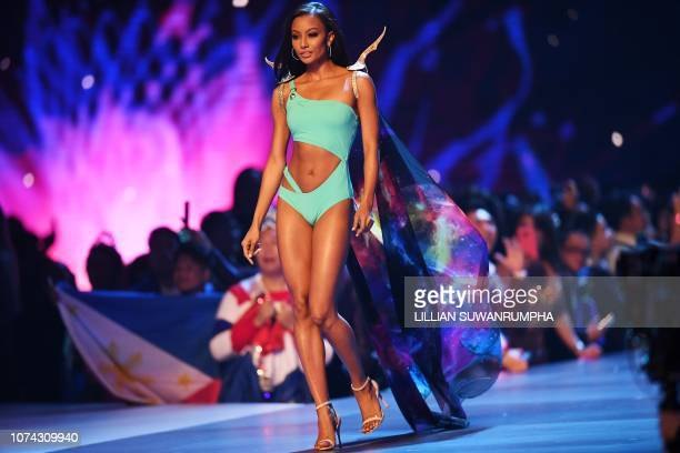 Akisha Albert of Curacao competes in swimsuit during the 2018 Miss Universe Pageant in Bangkok on December 17 2018 Miss Philippines was crowned Miss...