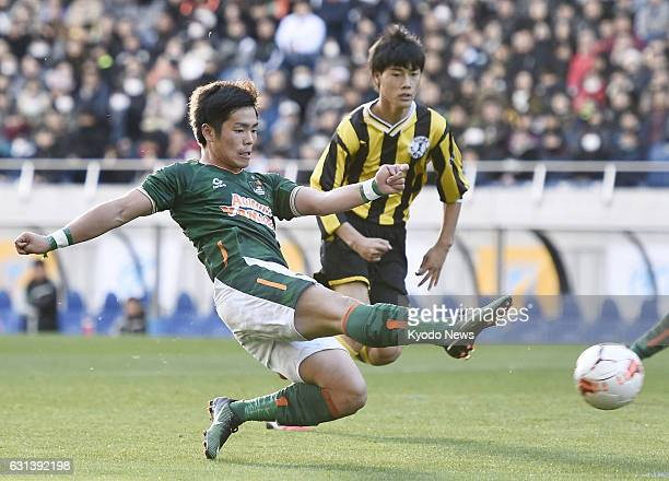 Akito Narumi of Aomori Yamada High School scores a goal against Maebashi Ikuei High School in the second half of the national high school...