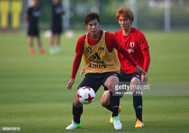 Akito Takagi of Japan during a training session at the Daejeon World Cup Stadium training pitch during the FIFA U20 World Cup on May 29 2017 in...