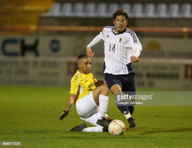 Akito Takagi of Japan fights for the ball during a friendly soccer match between F91 Diddeleng and the Japan U20 team at Stade Jos Nosbaum on March...