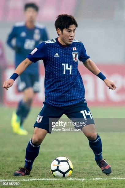 Akito Takagi of Japan in action during the AFC U23 Championship China 2018 Quarterfinals match between Japan and Uzbekistan at Jiangyin Stadium on 19...