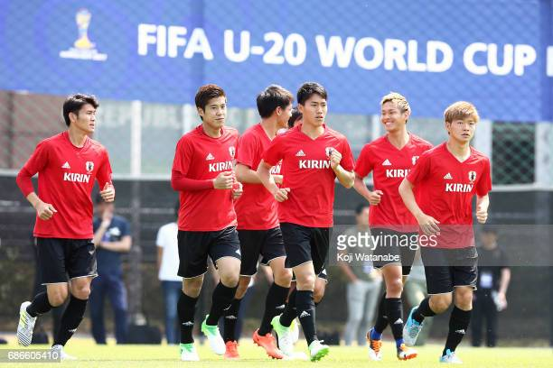 Akito Takagi of Japan with teammate inaction during a training session ahead of the FIFA U20 World Cup Korea Republic 2017 group D match against...
