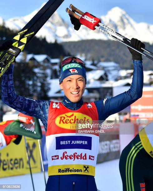 Akito Watabe of Japan celebrates after winning the FIS Nordic Combined Triple world cup on January 26 2018 in Seefeld Austria / AFP PHOTO / APA /...