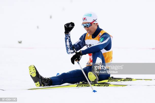 Akito Watabe of Japan celebrates his bronze medal in the Individual Gundersen LH134/10km during day two of the FIS Nordic Combined World Cup Hakuba...