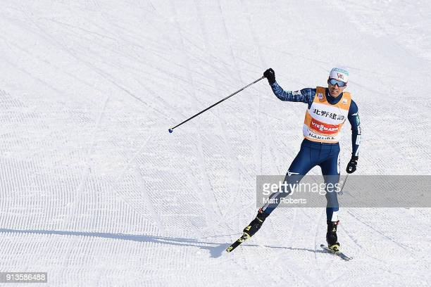 Akito Watabe of Japan celebrates winning the Individual Gundersen LH/10km during day one of the FIS Nordic Combined World Cup Hakuba on February 3...