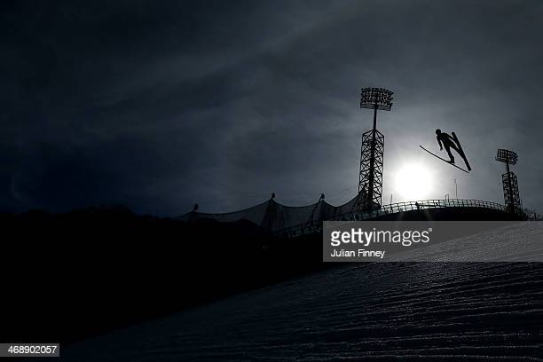 Akito Watabe of Japan competes during the Nordic Combined Individual Gundersen Normal Hill and 10km Cross Country on day 5 of the Sochi 2014 Winter...