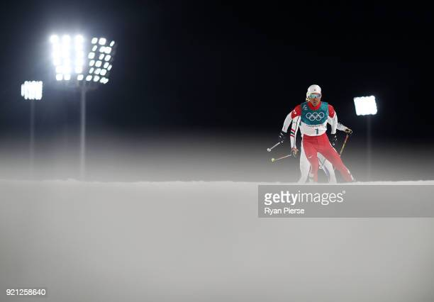 Akito Watabe of Japan competes during the Nordic Combined Individual Gundersen 10km CrossCountry on day eleven of the PyeongChang 2018 Winter Olympic...