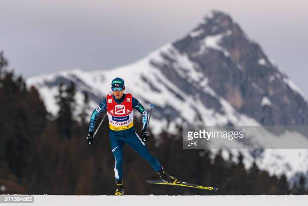 Akito Watabe of Japan competes during the Seefeld Nordic Combined Triple at the FIS Nordic Combined World Cup in Seefeld Austria on January 28 2018 /...