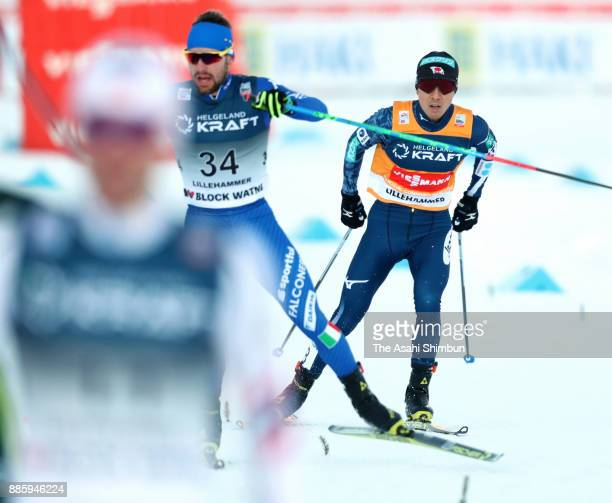 Akito Watabe of Japan competes in the cross country of the Men's Gundersen LH HS140/100 K during day two of the FIS Nordic Combined World Cup on...