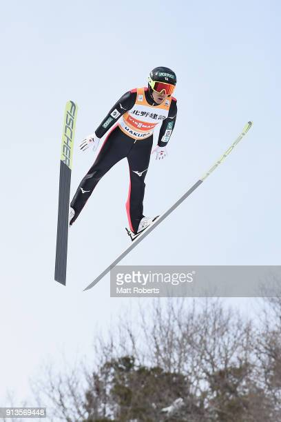 Akito Watabe of Japan competes in the Individual Gundersen LH/10km during day one of the FIS Nordic Combined World Cup Hakuba on February 3 2018 in...