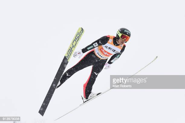 Akito Watabe of Japan competes in the Individual Gundersen LH/10km during day two of the FIS Nordic Combined World Cup Hakuba on February 4 2018 in...
