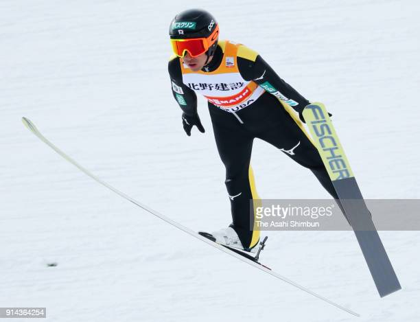 Akito Watabe of Japan competes in the Individual Gundersen LH134/10km during day two of the FIS Nordic Combined World Cup Hakuba on February 4 2018...
