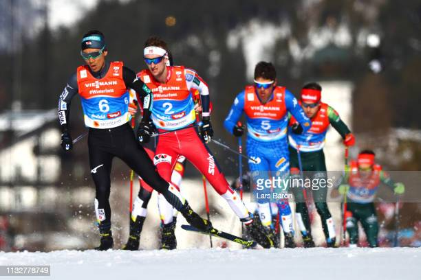 Akito Watabe of Japan competes in the Men's Nordic Combined Individual Gundersen 10km at the 2019 FIS Nordic World Ski Championships at Cross Country...