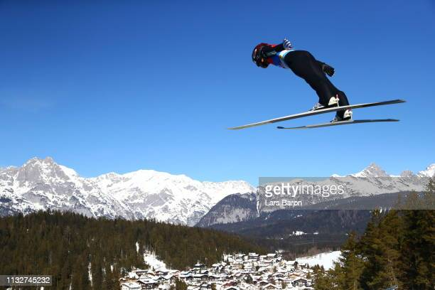 Akito Watabe of Japan competes in the ski jumping HS109 leg of the nordic combined during the 2019 Stora Enso FIS World Ski Championships at Toni...