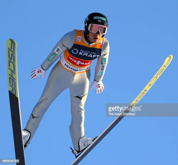 Akito Watabe of Japan competes in the ski jumping of the Men's Gundersen LH HS140/100 K during day two of the FIS Nordic Combined World Cup on...