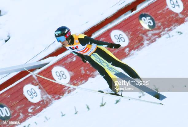Akito Watabe of Japan competes in the ski jumping portion of a men's Nordic combined World Cup event in Trondheim Norway on March 14 2018 ==Kyodo