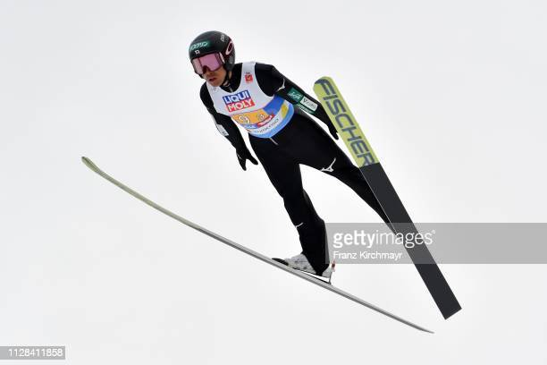 Akito Watabe of Japan during the Men's Nordic Combined HS109 Team at the FIS Nordic World Ski Championships at Toni Seelos Schanze Seefeld on March 2...