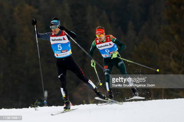 Akito Watabe of Japan in action during the FIS Nordic World Ski Championships Men's Nordic Combined Team HS130 on February 24 2019 in Seefeld Austria