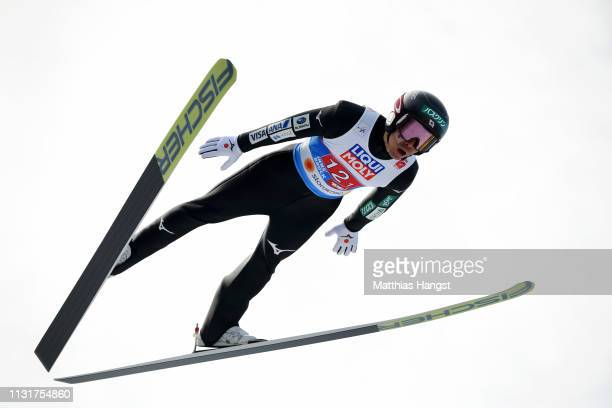 Akito Watabe of Japan jumps during the Team Sprint for the Nordic Combined during the FIS Nordic World Ski Championships at Bergisel Schanze on...