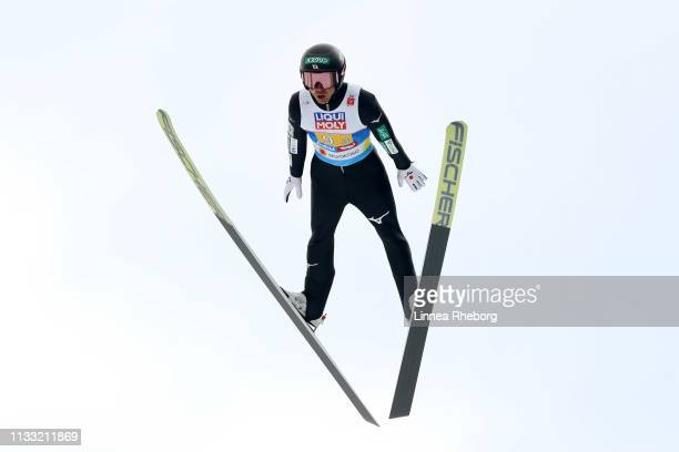 Akito Watabe of Japan jumps in the Ski Jumping HS109 leg of the Nordic Combined HS109 Team competition during the FIS Nordic World Ski Championships...