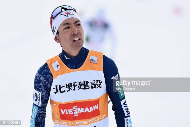 Akito Watabe of Japan looks dejected after the Individual Gundersen LH/10km during day two of the FIS Nordic Combined World Cup Hakuba on February 4...