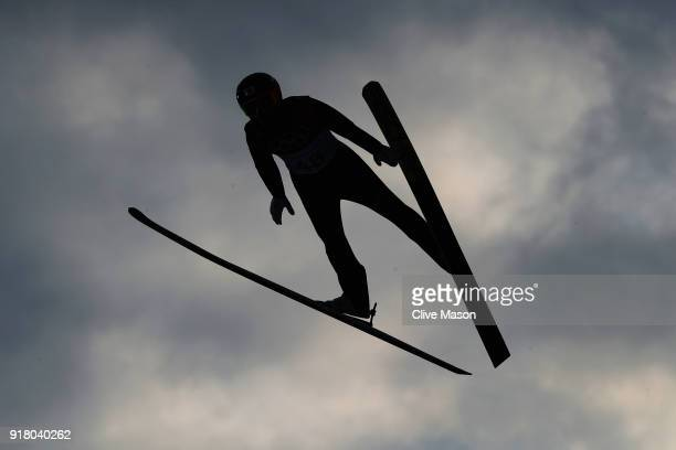 Akito Watabe of Japan makes a trial jump during the Nordic Combined Individual Gundersen Normal Hill and 10km Cross Country on day five of the...